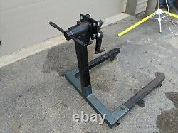 ENGINE STAND, HEAVY DUTY STEEL w Cast Iron casters