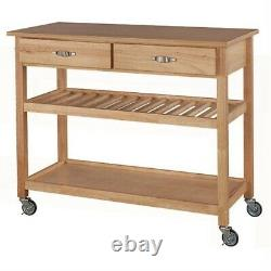 Fast Furnishings Solid Wood Kitchen Cart with Heavy Duty Casters