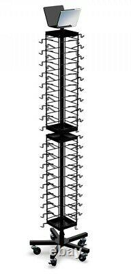 Floor Spinning Sunglass Display Rack 72 Pair with Heavy-Duty Casters (Black)