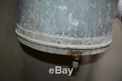 Galvanized Trash Can Vtg Antique witt Heavy Duty Garbage Pail with casters