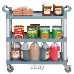 Gray 3 Shelf Utility Bussing Cart Heavy Duty Restaurant with Casters Plastic New