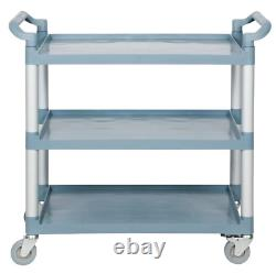 Gray Plastic 3 Shelf Heavy Duty Restaurant Utility / Bussing Cart with Casters
