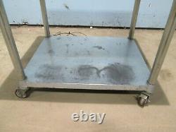 HEAVY DUTY COMMERCIAL (36¼W x 30½D x 28H) SS EQUIPMENT STAND/TABLE ON CASTERS