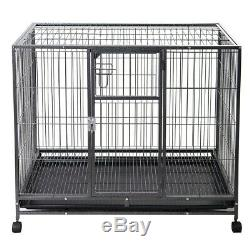 HEAVY DUTY PET KENNEL Strong Metal Dog Cage Large Crate Playpen Wheels Casters