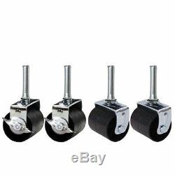 Heavy Duty Bed Frame Casters Solid Wheels Replacement Set Of 4 Two Locking Sale
