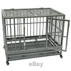 Heavy Duty Dog Cage Crate Kennel Metal Pet Playpen Stackable with Tray Casters