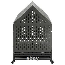 Heavy Duty Dog Crate Cage Kennel Strong Metal frame Kennel with roof 4 casters