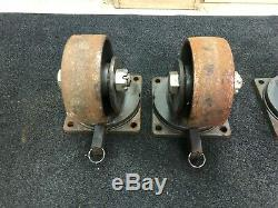Heavy Duty Hamilton Casters (2) S-md-83fst And (2) S-md-83fst-4sl-hcb