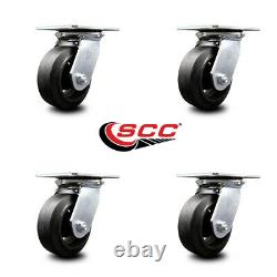 Heavy Duty Large Top Plate Rubber on Cast Iron Swivel Caster Set of 4 with5