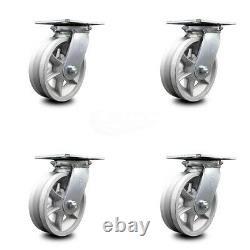 Heavy Duty Large Top Plate V Groove Semi Steel Swivel Caster Set of 4 with6