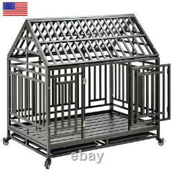 Heavy Duty Metal Pet Dog Cage Crate Kennel with Tray Portable Casters Wheels USA
