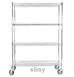 Heavy Duty NSF Chrome 4-Shelf Kit 64 Posts Casters Wire Shelving Commercial
