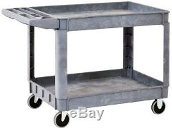 Heavy Duty Plastic 2-Shelf Utility Cart Garage Dolly Office Storage 5 in Casters