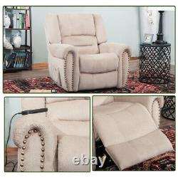 Heavy-Duty Power Lift Recliner Chair Upholstery with Built-in Remote & 2 Castors