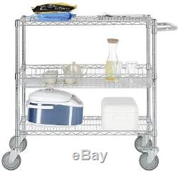 Heavy Duty Wire Shelving Cart Chrome Commercial Grade Movable Locking Casters