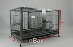Homey Pet 42.5' Heavy Duty Kennel Metal Cage with divider & Floor Grid Casters