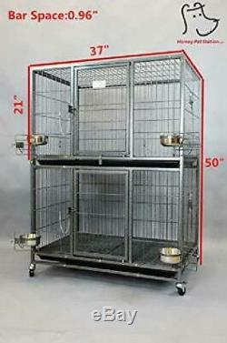 Homey Pet New Two Tier Heavy Duty Cage Kennel WithCasters And Feeding Bowls