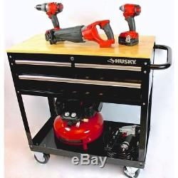 Husky Rolling Tool Cart Steel 3 Drawer Solid Wood Top Heavy Duty Casters