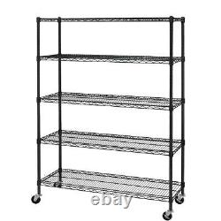 Hyper Tough 16Dx48Wx75.4H 5 Shelf Heavy Duty Wire Shelving with 3 in. Casters