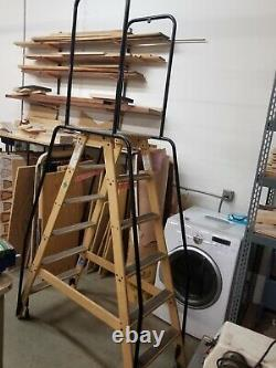 Industrial Rolling Ladder 5-Step Wooden on Heavy Duty Casters