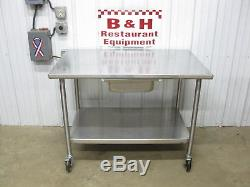 John Boos 48 x 30 Stainless Heavy Duty Work Table with Shelf, Drawer, Casters 4