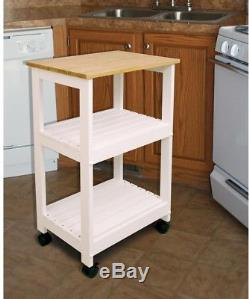 Kitchen Cart Butcher Block Top with Wood Shelves Locking Casters Wheels Heavy-Duty