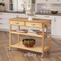 Kitchen Cart Utility Table W Storage Solid Hard Wood Heavy Duty Rolling Casters