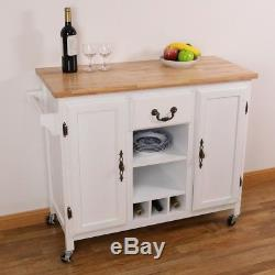 Kitchen Island Trolley with Drawer Wine Rack Storage Heavy Duty Rolling Casters