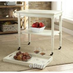 Kitchen Tray Table Stand Wheels Caster Wood Powder Coated Heavy Duty Durable