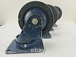 LOT SET 4 VINTAGE DARNELL INDUSTRIAL NY USA 3 HEAVY DUTY CASTERS With BRASS TAG