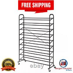 Large Rolling Shoe Rack Metal Storage Tower Heavy Duty Mobile Caster Organizer