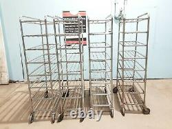 Lot Of 4 Deli, Meat, Produce Tray Mobile Carrier Carts On Heavy Duty 5 Caster