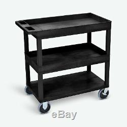Luxor 18 x 32 2-Tub/1-Flat Heavy-Duty Shelf Cart with 5 Heavy-Duty Casters 32W