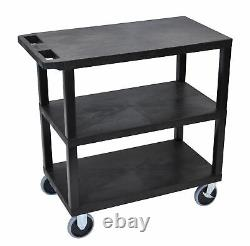 Luxor Cart Two Flat Shelves with 5 Fixed Heavy-Duty Casters