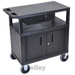 Luxor EC34CDHD-B 34-Inch 3-Shelf Cabinet with Drawer and Heavy Duty Casters -Black