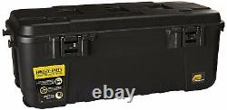 Mobile Black Storage Trunk 108qt Sport Tote With Latch Heavy Duty Plastic Casters