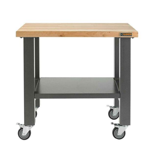 Mobile Workbench 3 Ft Thick Hardwood Top Heavy Duty Steel Frame Workstation New