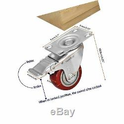Moogiitools 3 PVC Heavy Duty 1000lbs Swivel Rubber Caster Wheels with Safety
