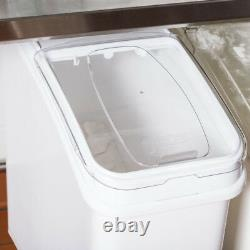 NEW Heavy Duty Commercial 21 Gallon Dry Ingredient Storage Bin Clear Lid Casters