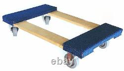 NK Furniture Movers Dolly with 3 Heavy Duty Swivel Casters (30 x 17), Blue