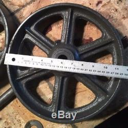 NOS Antique SET of Industrial Cart Cast Iron Wheels Heavy Duty Nutting Casters