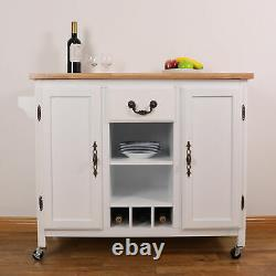 New Large Wooden Kitchen Island Trolley with Heavy Duty Rolling Casters