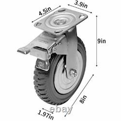 Nisorpa 8 Inch Caster Wheels Heavy Duty 4 Pack Anti-Skid Rubber Swivel Mute With
