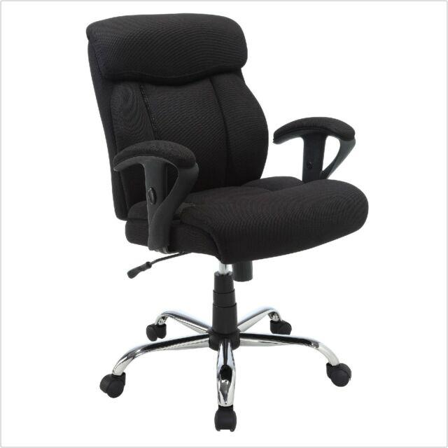 Office Chair Black Mesh Wheels Heavy Duty Casters Gas-lift Adjustable Soft Seat