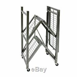 Origami 3 Shelf Foldable Storage Unit on 3 Caster Wheels Unfolds in 5 Second