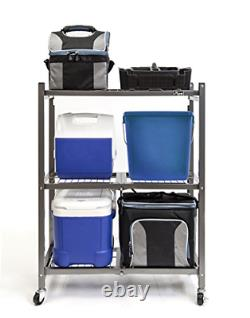 Origami 3 Shelf Foldable Storage Unit on 3 Caster Wheels, Unfolds in 5 Seconds