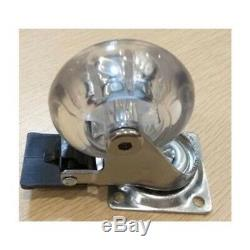 Pack of 100 1.5 Inch Heavy Duty Clear Swivel Caster Wheel with Brakes and 220 l