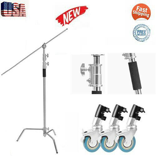 Professional 11ft Heavy Duty Studio C-stand Tripod With 3 Casters + 50'' Boom Arm