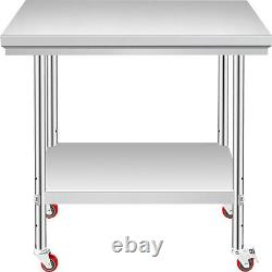 Rolling Stainless Steel Top Kitchen Work Table Cart + Casters Shelving 30x24