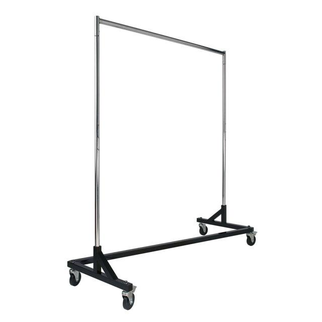 Rolling Steel Garment Rack Clothes Display Hang Rail Chrome Tube Bar 4in Caster